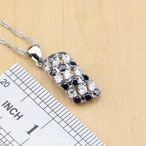 Image 3 - Prata 925 jóias preto e branco cz conjuntos de jóias para mulheres brincos/pingente/anéis/pulseira/colar conjunto
