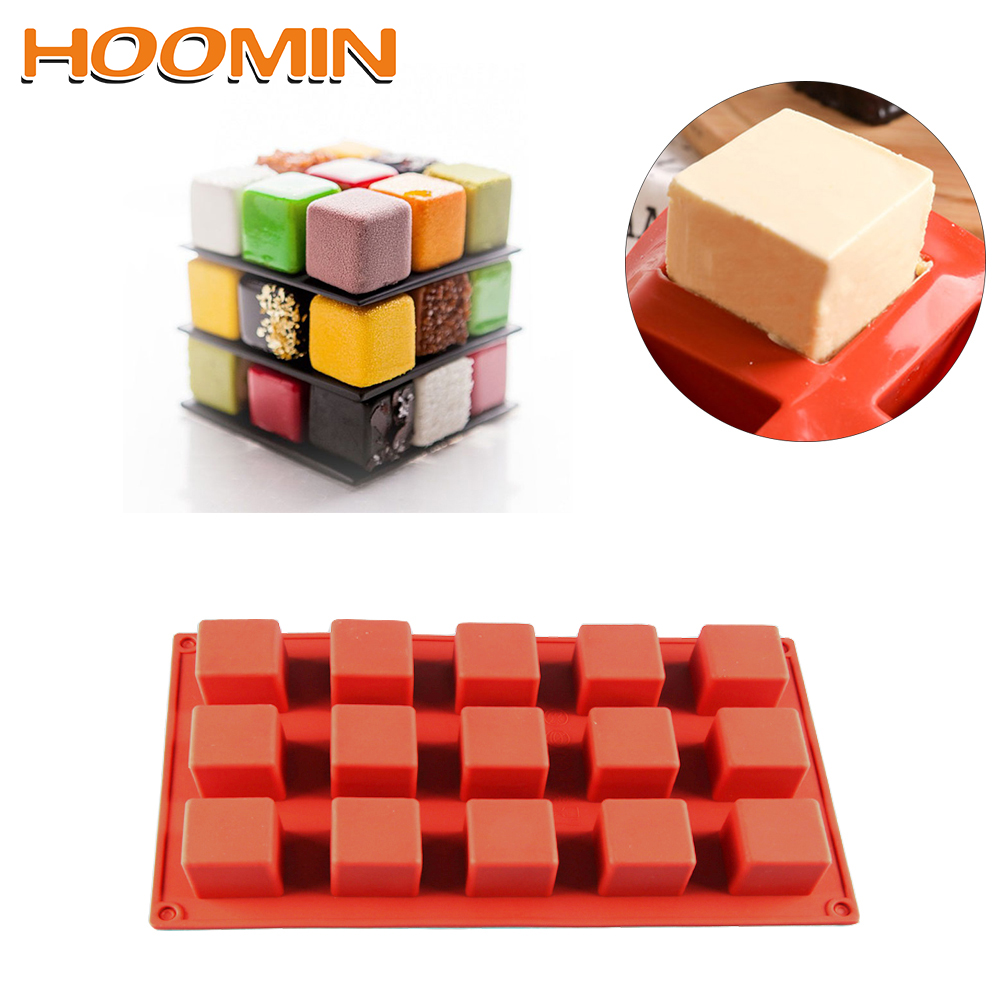 HOOMIN 15 Grids Square Silicone Soap Molds Kitchen dining and bar supplies Handmade Soap For DIY Soap Making Chocolate Cake Mold