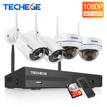 Techege 1080P Wireless CCTV Security Camera System Surveillance 4CH HD WiFi NVR Kit 2MP Outdoor Vandalproof Dome IP Wifi Camera anran 4ch hd 720p hd wifi nvr 7 lcd monitor 1 0 megapixel outdoor security wireless ip camera video surveillance system for home