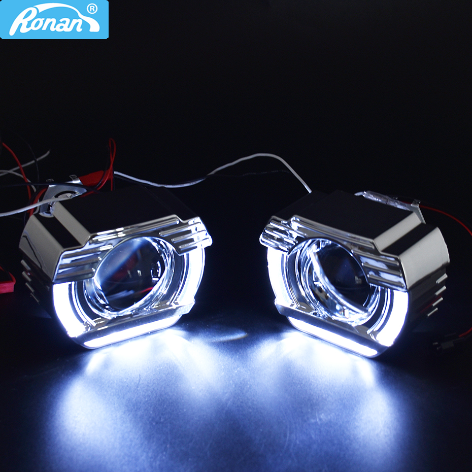 Ronan 2.0 moto H1 bi xenon <font><b>led</b></font> angel eyes one set Jet-ta shrouds H4 <font><b>H7</b></font> adapter car <font><b>headlight</b></font> use H1 bulb for retrofit image