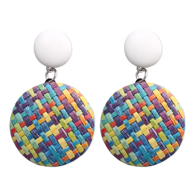 Creative Colour Fashion Retro Openwork Woven Circle Earrings Geometric Round Rattan Hollow For Women Bohemian Jewelry