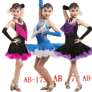 Competition Uniforms Evening Dance Dress,School Students Kids Girls Latin Dress, Ballroom Dance Costume Dress ,Girl Latin Dance