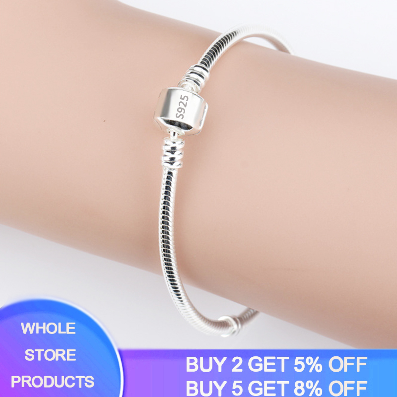 With Certificate Original Charm Bracelet Solid 925 Silver 3mm Snake Chain Fit Pan Charms/Beads Basic Bracelets Women DIY Jewelry