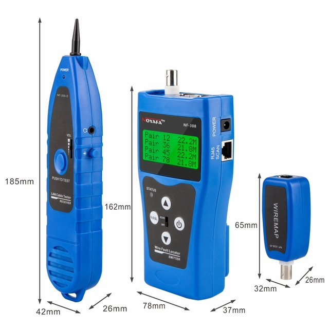 NOYAFA NF-308 Measure Network LAN Cable Length Cables Continuity Test Wire Tracker RJ45 RJ11 Ethernet Cable Tester Blue 2