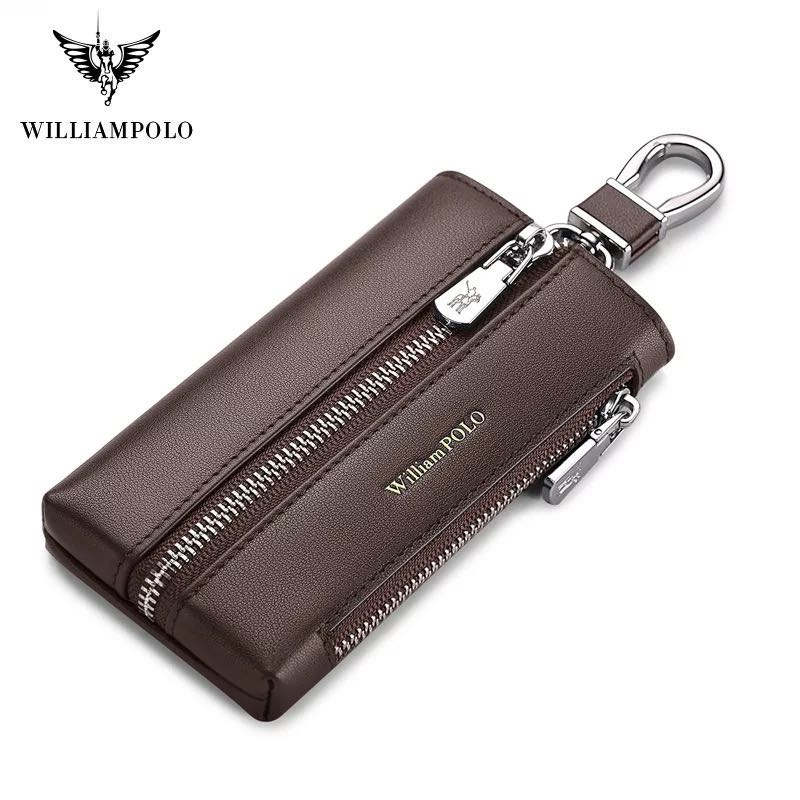 Williampolo leather key bag men's different styles key chain car key bag large capacity carry on zipper pure leather coin purse