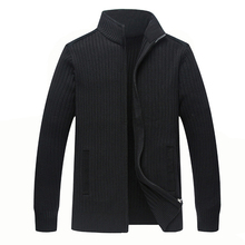 2021 winter wool sweater men's large size 4XL men's hand warmer knitted zipper cardigan-men's solid color casual clothing jacket