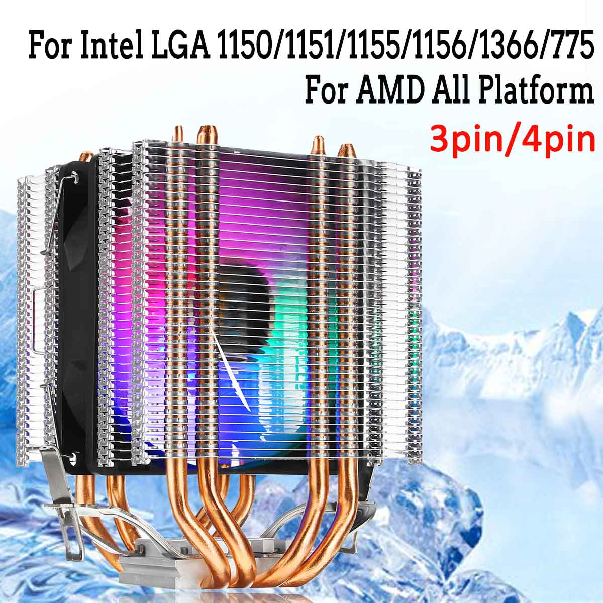 For Intel LAG 1155 1156 775 For AMD Socket AM3/AM2 RGB LED CPU Cooler Fan 4 Heatpipe Dual Tower 4pin Cooler Cooling Fan Heatsink