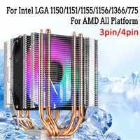Para Intel LAG 1155 1156 775 para AMD Socket AM3/AM2 RGB LED CPU enfriador ventilador 4 Heatpipe Dual Tower 4pin enfriador ventilador de refrigeración disipador de calor