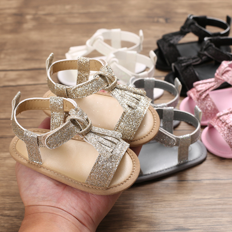 Firstwalkers Newborn Baby Shoes Prewalker Shoes Baby Girl Tassel Pendant Leather Shoes Breathable Toddler Shoes Sequins Soft