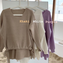 Mooirue Korean Style Sweater Women Bow Bandage Vintage Casual Streetwear O Neck Pullover Kintting Harajuku Khaki Purple