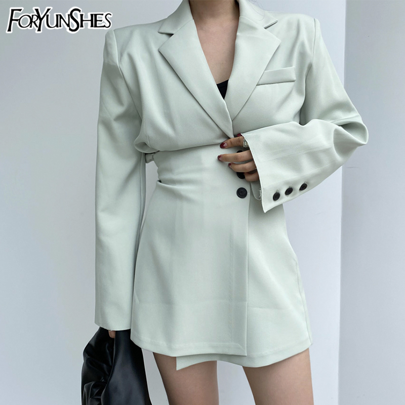 FORYUNSHES 2 Piece Set Women 2020 Autumn Korean Style Elegant OL Casual Notched Collar Blazer + High Waist Buttom Mini Skirt
