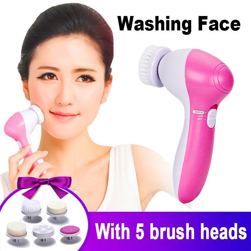 Facial Brush Electric 5 In 1Multifunction Brosse Nettoyante Visage Mini Skin Care Massage Beauty Pore Cleaner Body Cleansing