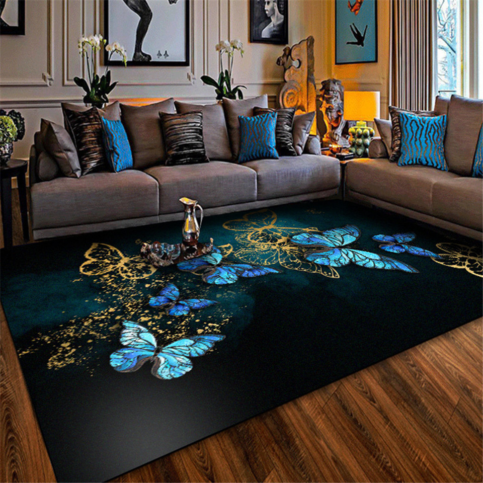 European Style Blue Butterfly Big Carpet Classic Living Room Bedroom Carpet Nordic Kitchen Rugs Non-slip Mat Beside Rugs