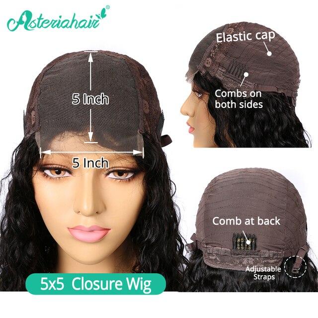 Asteria Water Wave 5x5 zamknięcie koronki peruki dla czarnych kobiet brazylijski 6x6 peruki z ludzkich włosów 130 150 gęstości wysoki stosunek Remy włosy