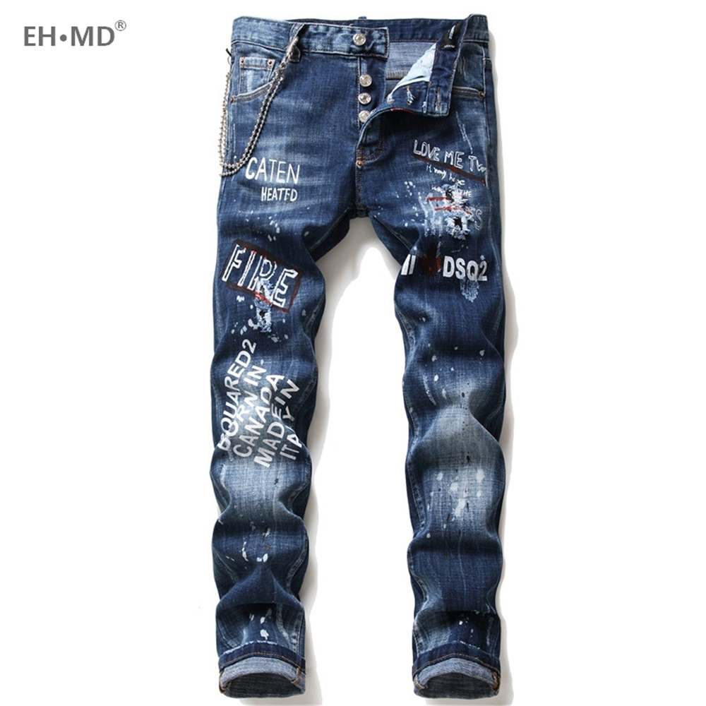 EH · MD® Pearl Pendant Decorated Jeans Men's Embroidered Broken Pants Ink Pants Painted Letters Slim Cotton Red Ears Soft 2020