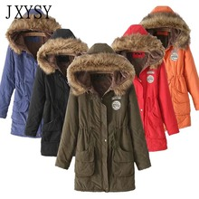JXYSY Winter Jacket Women Parka 2019 New Hooded Warm Long Cotton Padded Coat Female Outwear Plus Size