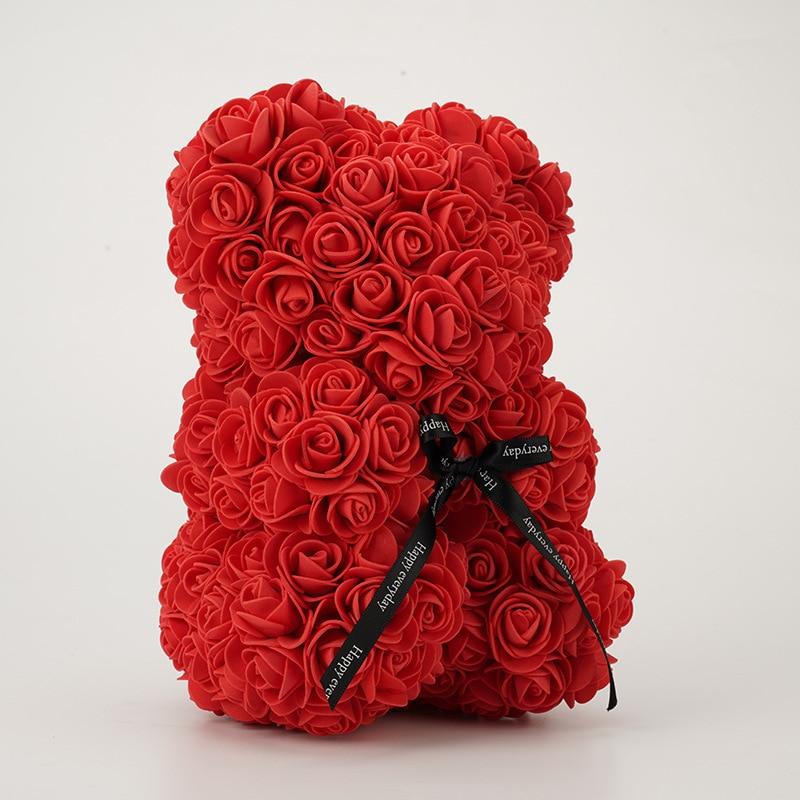 Presente do dia dos namorados 25cm rosa vermelha ursinho de pelúcia espuma de sabão flor artificial bea