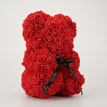 Valentines Day Gift 25Cm Red Rose Teddy Bear Soap Foam Artificial Flower Bea
