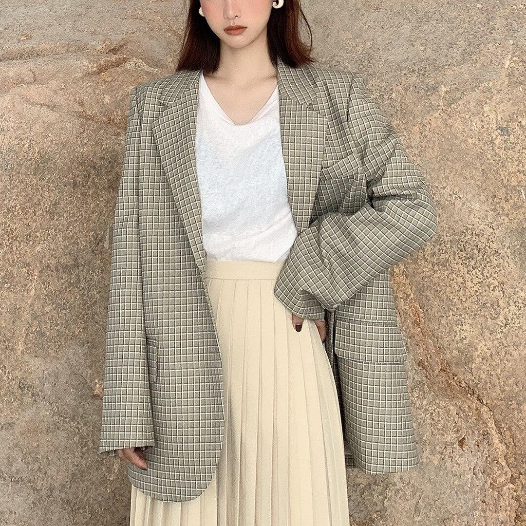Women's Checked Suit Korean Women's Retro Suit Notched Plaid Coat Women Suit Jackets 2019