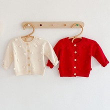 Baby Girls Sweater Pompom Design Knit Cardigans Spring Toddler Newborn Long Sleeve Knitted Jackets Coat Cotton Kids Tops