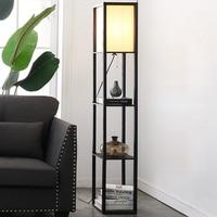Maxwell LED Shelf Floor Lamp Modern Asian style floor light with soft diffusing white shades wood frame shelf home lightings