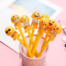 Creative Shaking Head Doll Bouncing Pen Smile Face Spring Expression Gel Pen Cute Shaking Head Toy Gift Learning Stationery цена