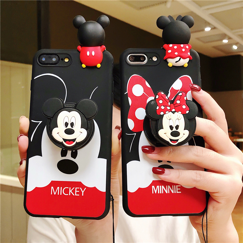 Phone Cases For <font><b>Samsung</b></font> Galaxy A6 A8 Plus A7 A9 2018 A10 A20 A30 <font><b>A40</b></font> A50 A60 A70 M20 M30 <font><b>2019</b></font> Minnie Mickey Wrist Strap <font><b>Cover</b></font> image