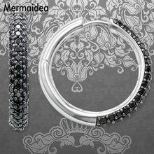 Creole Large Black Hinged Hoop Big Earrings Zirconia Fashion Jewelry Trendy silver plated Gift For Women Lover 2020 New