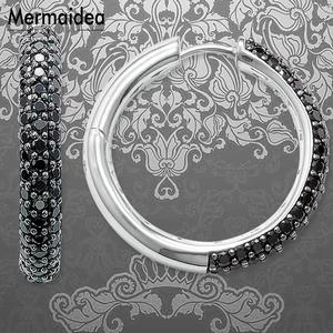 Image 1 - Creole Large Black Hinged Hoop Big Earrings Zirconia Fashion Jewelry Trendy silver plated Gift For Women Lover 2020 New