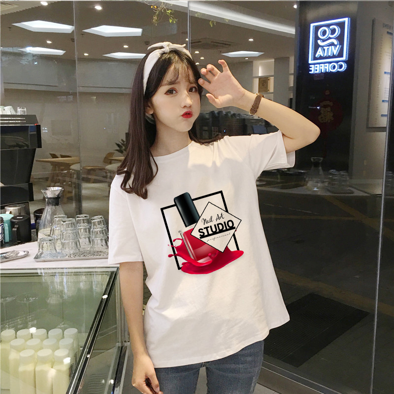 Showtly Novelty Fashion Nail Polish Printed 3D T Shirt Women Vogue Summer Tee Shirt Femme Tumblr Tops Slim T-shirt Female