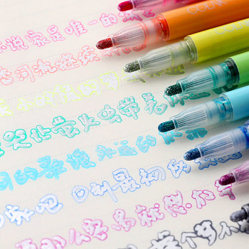 Double Line Fluorescent Color Markers Pen Poublen 8Pcs Candy Color Highlighter Art Markers For Kids Painting Stationery Supplies