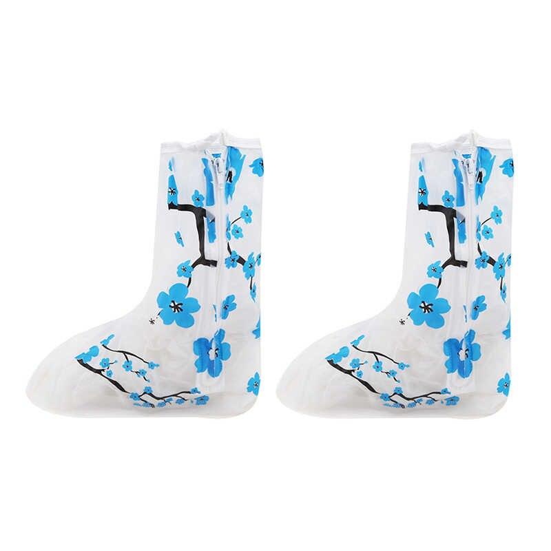 Blauwe Bloem PVC Anti-Slip Waterdichte Laarzen Verdikte Vrouwen/Meisjes/Kinderen Herbruikbare Schoenen Covers Regen Beschermhoes voor Schoenen