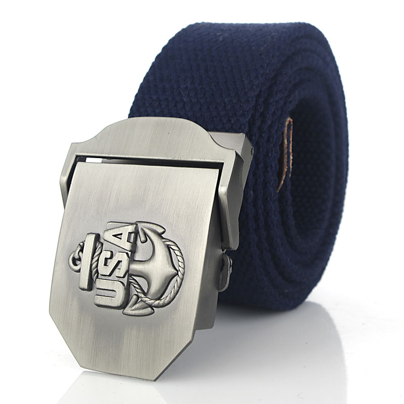 Men's Canvas belt USA Navy new metal buckle military  Army tactical s for Male top quality men strap  green