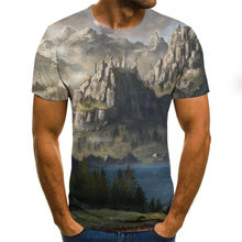 2020 new nature landscape men's T-shirt summer casual top 3D printed fashion round neck shirt plus size streetwear