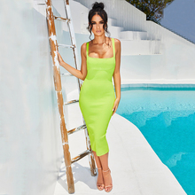ADYCE 2020 yeni yaz spagetti kayışı bandaj elbise kadınlar seksi kolsuz kadın Midi Bodycon kulübü ünlü akşam parti elbise
