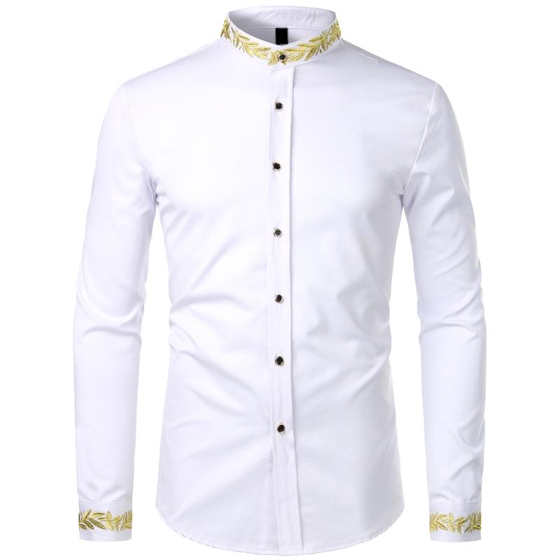 ajuste camisas de vestido de moda formatura festa dos homens chemise