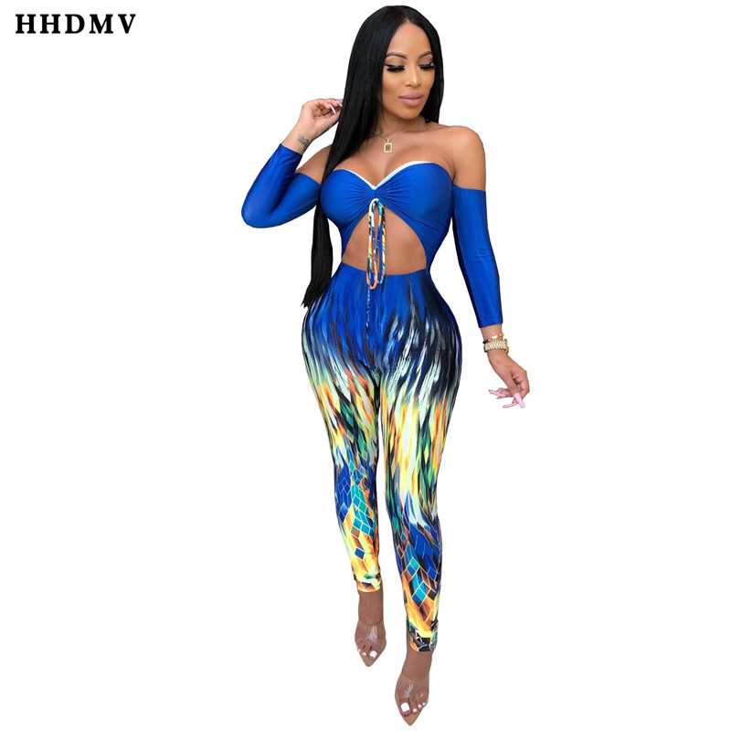 HHDMV ZSC0227 sexy holiday pastoral style jumpsuits long sleeve card shoulder printed hollow out tight jumpsuits long pants