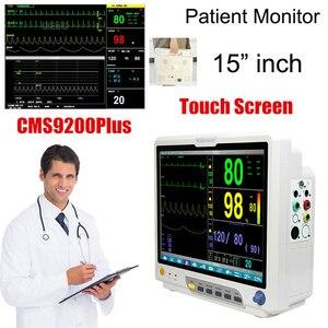 CMS9200PLUS 15 inch Touch Screen ICU Patient Monitor ECG RESP SpO2 PR NIBP TEMP 6 Parameter Vital Signs Patient Monitor
