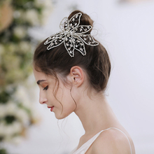 TRiXY H248 Luxury Crystal Bridal Hair Jewelry Wedding Tiara Headband Silver Big Flower Hairband Handmade Bridal Hair Accessories