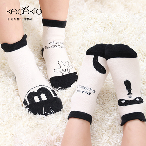 Kacakid Autumn Men And Women Children Short Socks X Cute Non-symmetrical Raccoon Socks Infants Comfortable Non-slip Sole Cotton