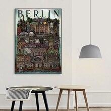 Vintage Berlin paisaje arte en póster de lienzo imprimir cuadros de pared para sala de estar sin marco