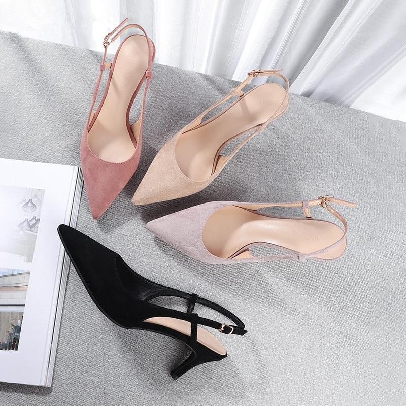Woman's Spring 6cm Thin High Heels Slingbacks 8