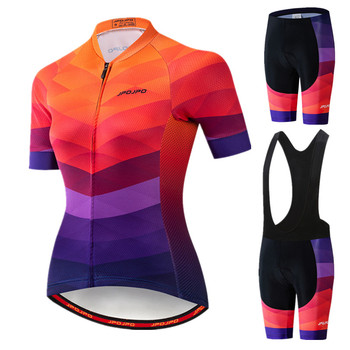 JPOJPO Pro Team Cycling Clothing Women Summer Mountain Bike Road Sport Bicycle Clothes Short Sleeve Jersey Set