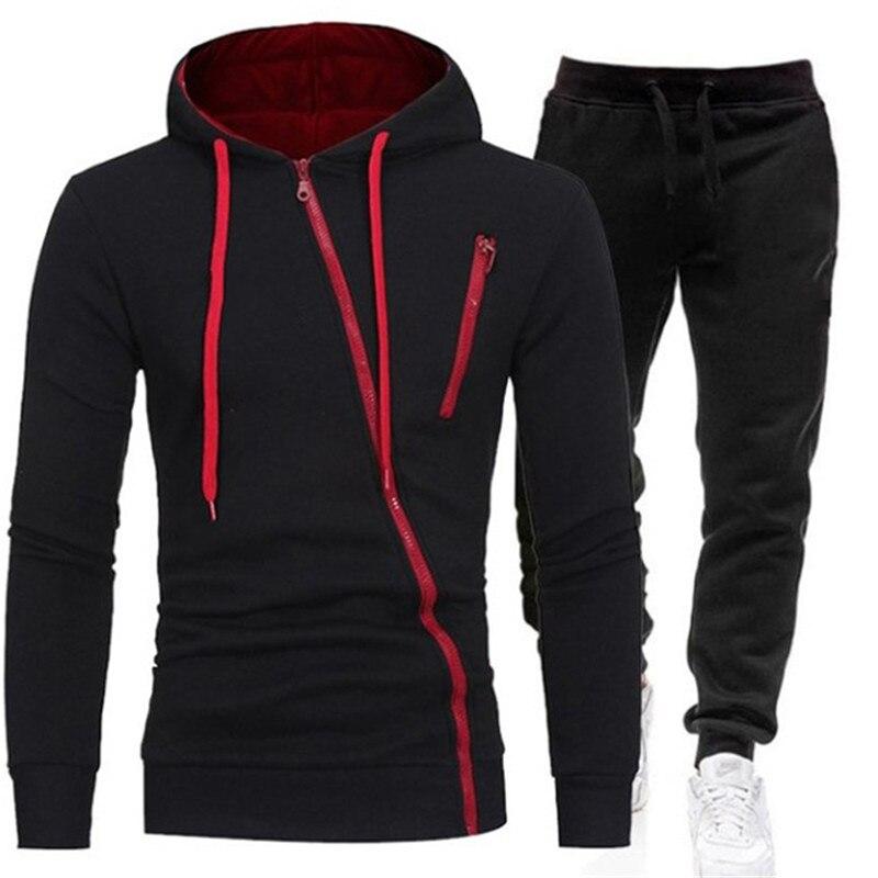 2021 conjuntos de treino casual dos homens hoodies e calças dois conjuntos de peças com capuz com zíper moletom roupa esportiva terno masculino|Conjuntos Masculinos|   -