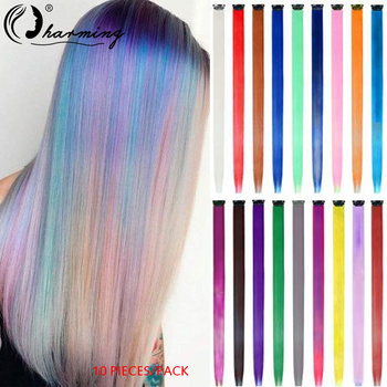 CHARMING 10 Pieces/pack Highlight Synthetic Hair Extensions Clip In One Piece Long Straight Hairpiece Rainbow For Women - discount item  39% OFF Synthetic Hair