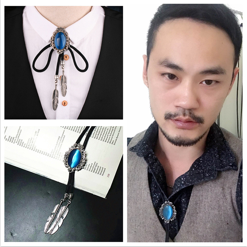 Vintage Fashion Baroque Bolo Ties Necklace Opal Denim Stone Feather Rope Mens Shirt Collar Bow Neck Tie Luxury Gifts Accessories