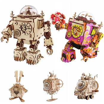 Robotime 5 Kinds Fan Rotatable Wooden DIY Steampunk Model Building Kits Assembly Toy Gift for Children Adult AM601 - discount item  40% OFF Building & Construction Toys