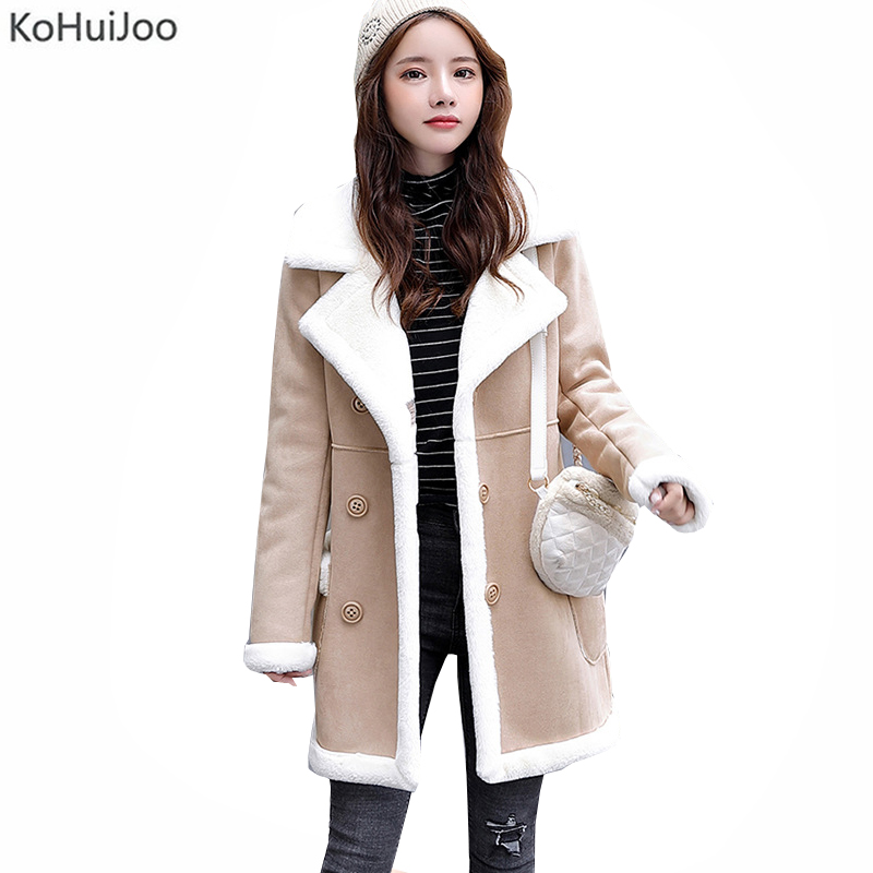 Kohuijoo 2019 Winter Lambs Wool Jackets Women Warm Thick Plus Velvet   Suede   Fur   Leather   Coats Female Thick Outerwear Streetwear