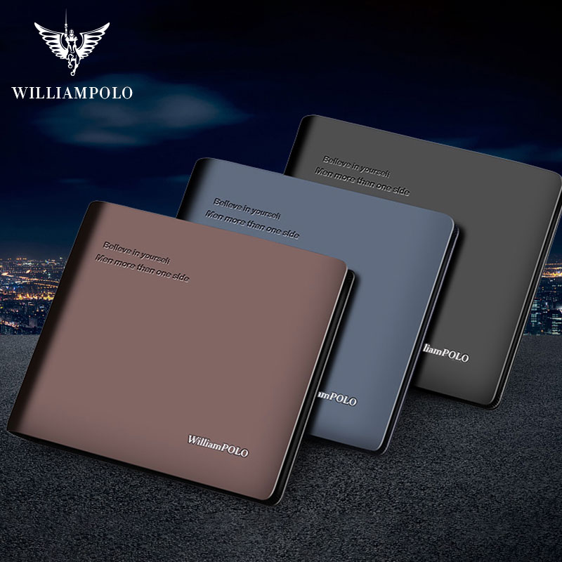 WilliamPOLO Luxury Genuine Leather Men Wallet Short Bifold Wallets Male Clutch Coin Purse Card Holder Multifunction 100% Cowhide