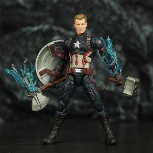 "Image 3 - נוקם סוף המשחק קפטן אמריקה 6 ""פעולה איור KO של ML אגדות Custom סטיבן רוג רס Mjolnir ראוי קפטן ראש בובה צעצועים"